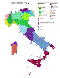 Italy Region Map by Linguistic Map Of Italy Maps Pinterest Italy Language And