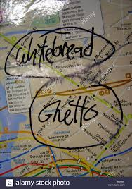 Subway Nyc Map by New York City Subway Map With Whitebread Ghetto Graffiti Stock