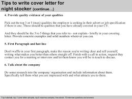 Sample Resume For Overnight Stocker by Night Stocker Cover Letter