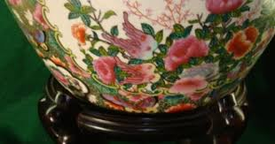 large fish bowl planter oriental accent floral stand oriental