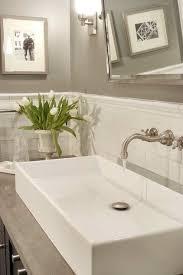 Papyrus Home Design Chic Bathroom With Warm Gray Paint Color - Crackle subway tile backsplash