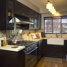 kitchen gray benches brown base cabinets stainless wall mount