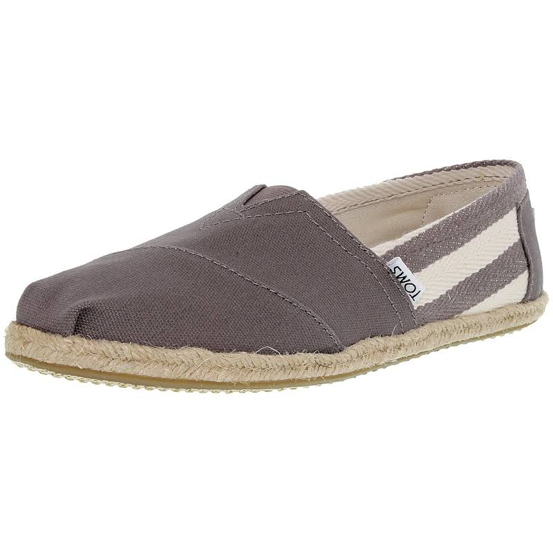 Toms Classic Striped Canvas Dark Grey Stripe University Ankle-High Flat Shoes