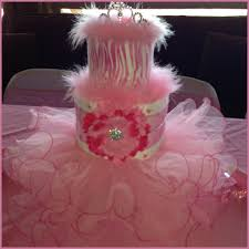 diaper cake used as table centerpiece for a princess themed baby