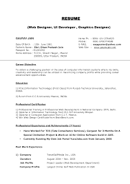 Resume Cover Letter For Freshers Sample Resume For Web Designer Fresher Resume For Your Job