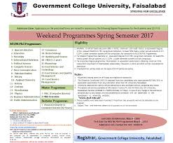 admission open in weekend program in spring semester 2017 gcuf