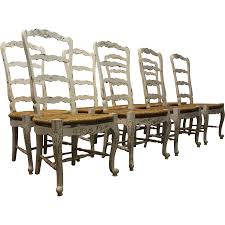 set of 8 country french rush seat ladderback dining chairs from