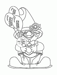 funny clown and birthday balloons coloring page for kids holiday