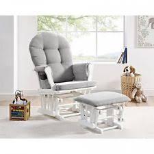 nursery glider chair and ottoman white gray baby bedroom rocker