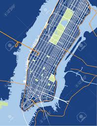 Map New York City by New York City Lower And Mid Manhattan Vector Map Blue Royalty