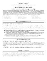 Sample Investment Banking Analyst Resume Banking Summer Analyst Resume Sample