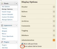 Change Customise Thesis     Theme Footer Appearance in WordPress thesis admin link disable