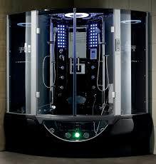 bathroom simple modern black steam shower with curved sliding