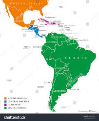 Latin America Map Labeled by Latin America Regions Map Subregions Caribbean Stock Vector