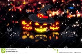halloween city halloween glowing pumpkins night city bokeh background 3d stock