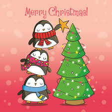 penguin u0026 chritmas tree cute christmas card 2 50 creased cards