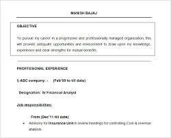 Financial Resume Sample by Resume Objectives U2013 46 Free Sample Example Format Download
