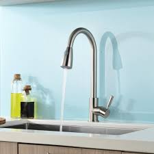 brushed nickel single handle kitchen sink faucet with pull down