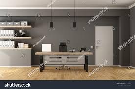 contemporary office minimalist deskclosed door shelves stock