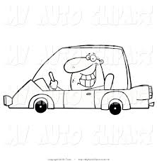 Old Ford Truck Coloring Pages - vector clip art of a coloring page of a grinning man driving a car