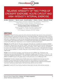 relative intensity of two types of crossfit exercise acute