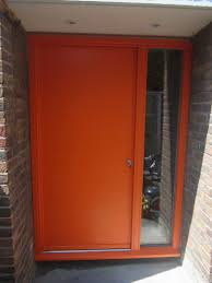 contemporary front door hamburg 1 panel frame 3 painted ral 2009 traffic orange kloeber funkyfront 34714 jpg