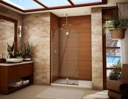 bathroom frameless shower doors matched with peru wall plus white