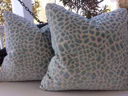Blue Leopard Print by Cowtan And Tout Pillow Lynx Cover In Aqua Blue