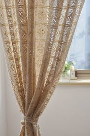 rustic vintage style crochet curtain for living room beige color