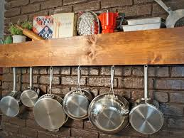 wall mounted pot rack shelf and kitchen wall mount pot rack with