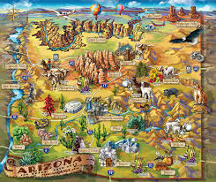 Map Of The Usa by Large Detailed Tourist Illustrated Map Of Arizona State Arizona