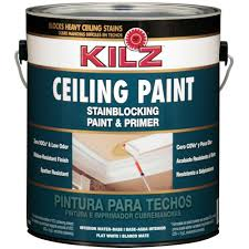 Home Depot Interior Paint Colors by Kilz White Flat 1 Gal Interior Stainblocking Ceiling Paint And