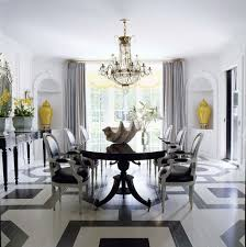 Black And White Dining Room Chairs Gorgeous Dining Room With Crystal Chandelier Over Large Dining