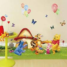 large winnie the pooh and friends dancing grass cartoon large winnie the pooh and friends dancing grass cartoon wall stickers for kids room decor nursery decals