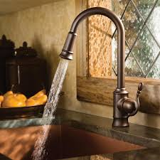 moen 7615orb woodmere one handle high arc pulldown kitchen faucet view larger