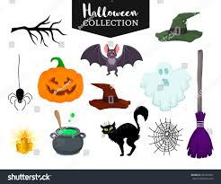 vector set halloween hand drawn cartoon stock vector 487422697