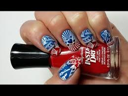 4th of july nails sponge and stamping nail art tutorial
