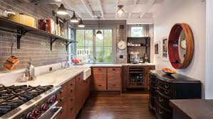 kitchen style open shelves distressed cabinets marble countertops