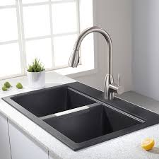 Kraus KGDB   Inch Dual Mount  Double Bowl Black Onyx - Kitchen sink images