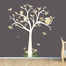 Tree Decal For Nursery Wall by Owl Decal Owl Tree Wall Sticker Goldish Yelllow Grey Owl