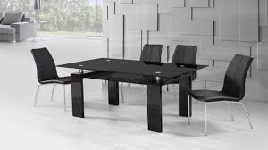 Black High Gloss Glass Dining Table And  Black Dining Chairs - Black dining table for 4