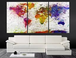 World Map Canvas by Xlarge Splash Colorful World Map Canvas Print Contemporary 3