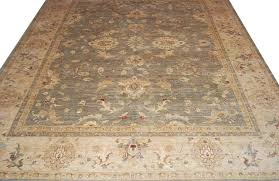 Area Rug 12 X 15 Sage Green Cotton Wool Area Rug 12x15 Feet Chobi Peshawar Vintage
