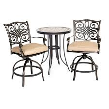 Patio Furniture Bar Height Dining Set - monaco 3 piece high dining bistro set mondn3pcsw br