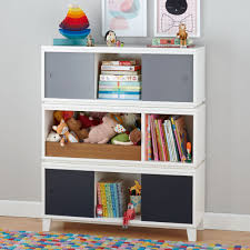 district modern storage bench bookcase with bin white the land