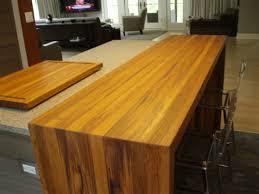 kitchen waterfall countertop wooden bar stool oak laminated