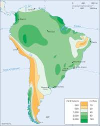 Physical Map Of South America by Precipitation Map Of South America Available As Poster Print Or As