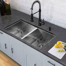 Undermount Kitchen Sinks Stainless Steel : All in One Kitchen Set with 32 inch Stainless Steel Double Bowl Undermount Kitchen Sink and Edison Matte Black Pull Down Spray Kitchen Faucet VG15705