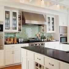 Green Tile Backsplash by Blue Green Subway Tile White Cabinets Black Countertops Home