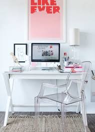 Modern White Office Desks Simple Desk With X Legs Paired With Lucite Chair And Bright